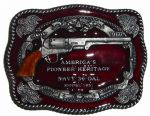 Navy 36 Caliber Model 1851 Belt Buckle with display stand. Product code: PG7